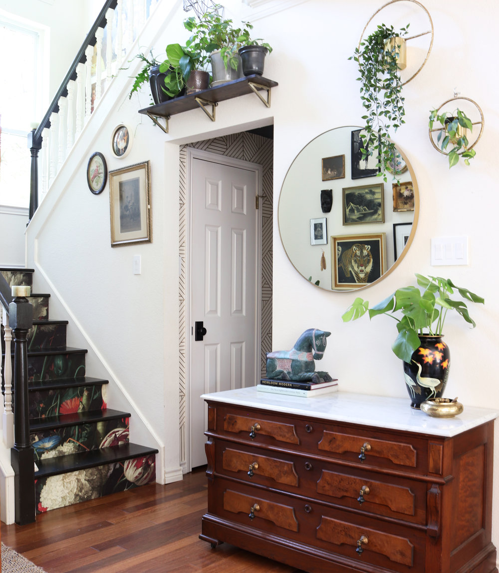 Wallpapered stairway before and after.jpg