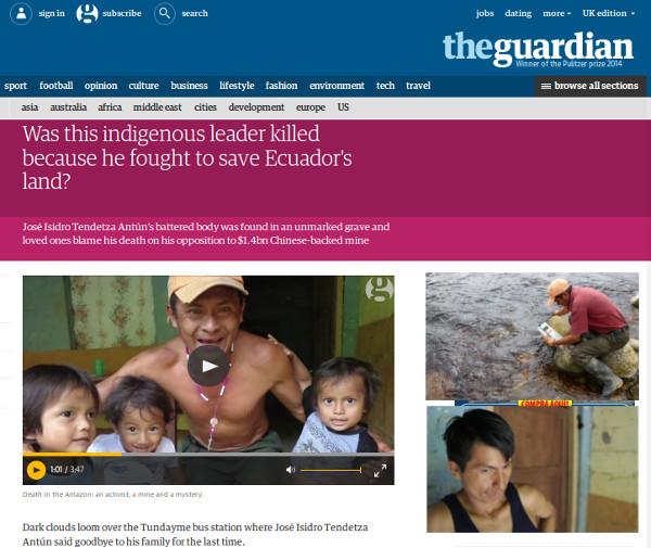 Página web del periódico digital The Guardian con el reportaje sobre José Tendetza