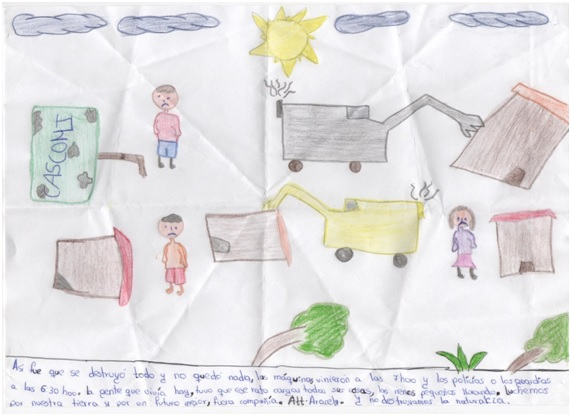 Dibujo de uno de los niños de Tundayme tras el desalojo del 16 de diciembre de 2015. Foto: Caritas y JPIC