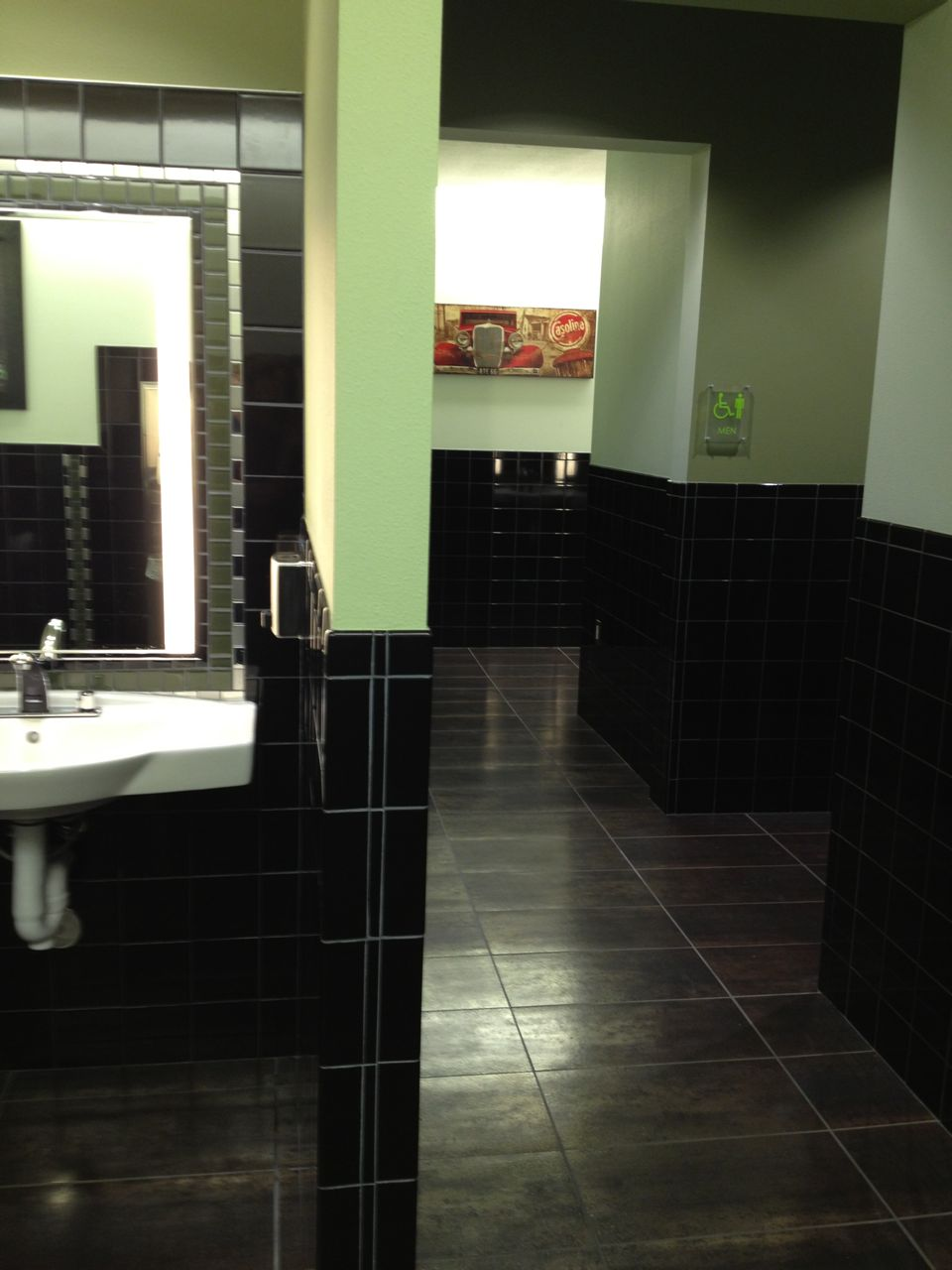 Nicely remodeled bathrooms across the lobby