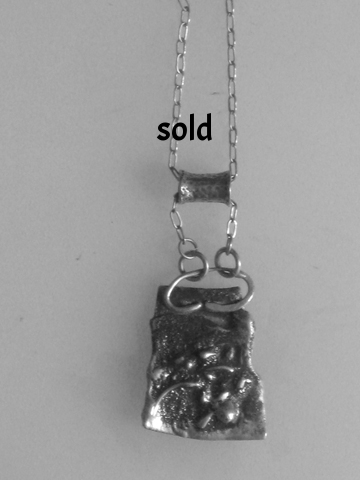 Sterling silver, fine silver pendant with sterling silver barrel link on sterling silver chain $185.00
