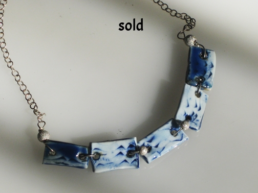 Sterling silver and porcelain, $95.00