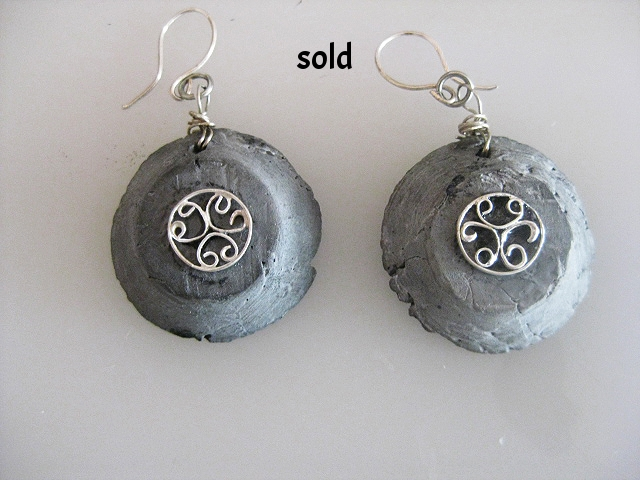 saggar  fired porcelain with fine and sterling silver $60.00