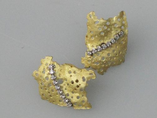 gold wisps with diamonds earrings$7500.00