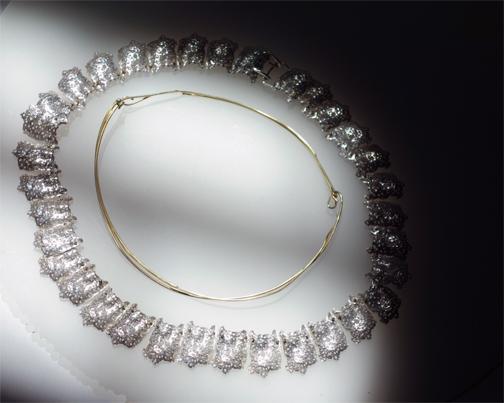 Shoulder Wisp Necklace w/gold companion necklace $5000
