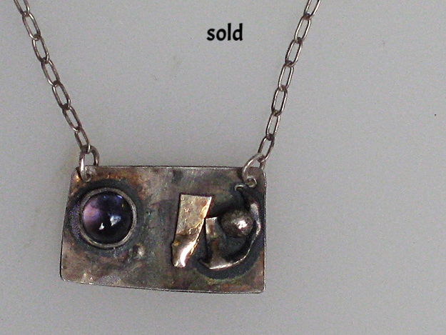 Sterling silver, fine silver and brass with amethyst $175.00
