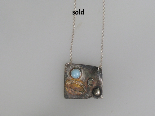 Patina Sterling silver and brass with amah amazonite  $175.00