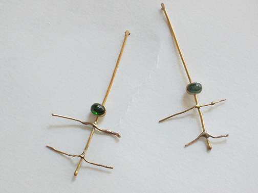 Green and Gold Earrings $2100.00