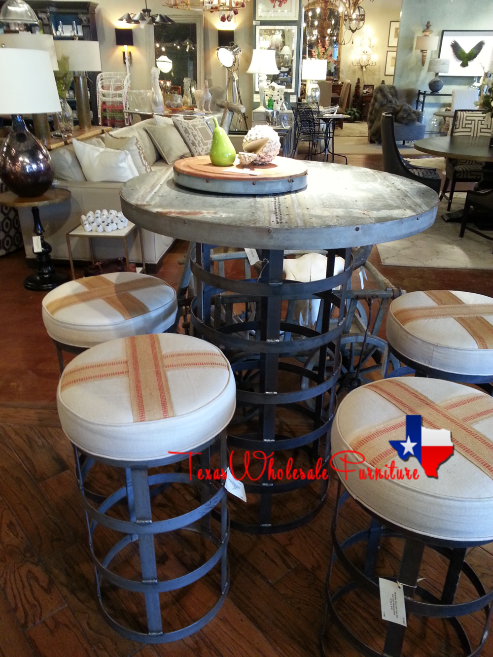Custom Iron Dining Table & Butter Cream Stools