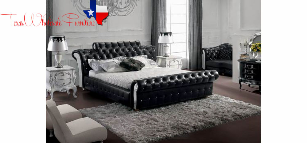 Contemporary Black Tufted Leatherette Bed. MODERN FURNITURE   Texas Wholesale Furniture Co