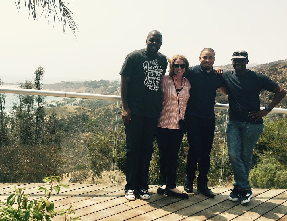 Ethno Multimedia holds radio production session at their affiliate studio 'Studio Malibu'  left to right  - Keanon Pearson (Ethno Multimedia)  Janette Coyle (Producer, American Airlines) Davien Anderson (Marketing Manager, American Airlines) Troy Jones ( Owner, Ethno Multimedia)