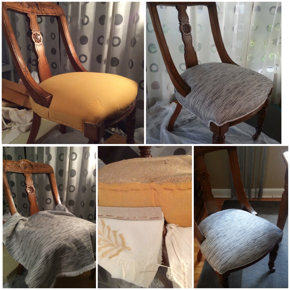 Process of upholstery on a chair