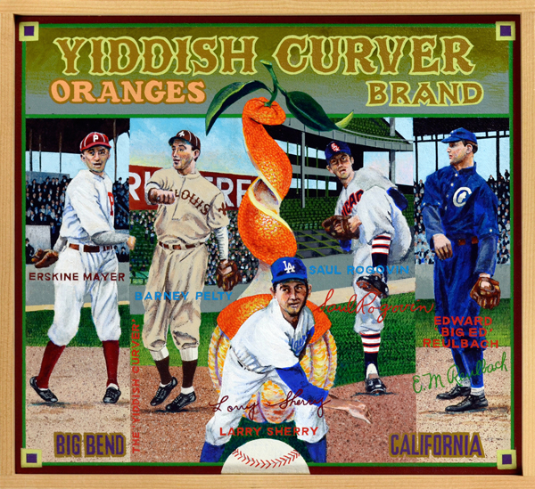 "Yiddish Curver Brand   During baseball's formative years, players of Jewish ancestry often played under anglicized versions of their surnames. This practice developed as a way to assimilate more easily into baseball culture, which was a haven for racists and the ignorant. By the turn of the twentieth century, Jewish players began to use their birth names, proudly and defiantly. Of the five curveball artists pictured here three played during the Deadball Era (1900‒1919): Erskine Mayer, Barney Pelty and Ed Reulbach. Mayer (1889‒1957) threw a nasty sidearm curve that made batters look foolish. A multiple 20-game winner, he was an important piece of the 1915 NL champion Phillies, and later pitched for the 1919 Black Sox. He is considered among the best Jewish pitchers in history, as is Barney Pelty (1880‒1939), the original ""Jewish Curver."" Pelty's career suffered as a result of playing for the perennially awful St. Louis Browns, but he was still able to post the best career ERA of any Jewish pitcher. Big Ed Reulbach (far right) was the workhorse of the Chicago Cubs pitching staff during their last extended period of glory. In 1908, Reulbach (1882‒1961) threw shutouts in both games of a doubleheader, the last man to notch complete games on the same day. That Cubs team was the last to win a World Series. Saul Rogovin and Larry Sherry baffled batters during the Fifties. Rogovin (1923‒1995) was a solid, if unspectacular, starter for four teams during his career. His yakker propelled him to the AL ERA title in 1951. Larry Sherry (foreground) was the savior of the Dodgers pitching staff in the team's championship season of 1959. The Los Angeles native, whose older brother Norm was a big league catcher, served as the Dodgers top relief pitcher in the early 1960s."