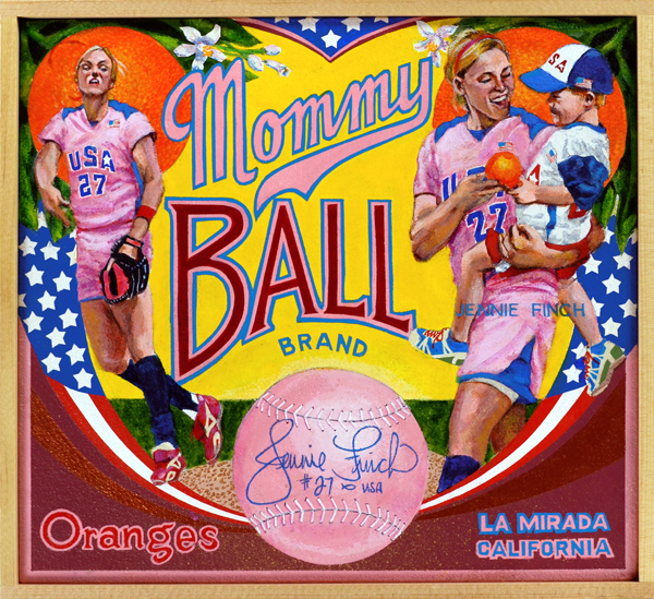 "Mommy Ball Brand   NCAA Women's Softball is a dynamite sport, and Jennie Finch among the most explosive packages ever to play it. From an early age, the long and lithe Finch (b. 1980) had a cannon for an arm, delivering pitches with a devastating windmill motion that simply blew her opponents away. She attended the University of Arizona where she led the Wildcats to a College World Series victory in 2001. Her career numbers rank her among the top ten in most pitching categories. Like Lisa Fernandez a decade earlier, Finch became the face of women's softball after she led the U.S. Women's team to a gold medal in the 2004 Olympics and a silver in 2008, the last time softball was played at the Olympics. Her California golden girl looks secured high-profile endorsements and features in such magazines as  Vanity Fair  and  Glamour . People magazine named her one of their ""50 Most Beautiful People"" in 2004. After playing professionally with the Chicago Bandits of the National Pro Fastpitch League, Jennie retired in 2010, and now throws her energy into raising a family."