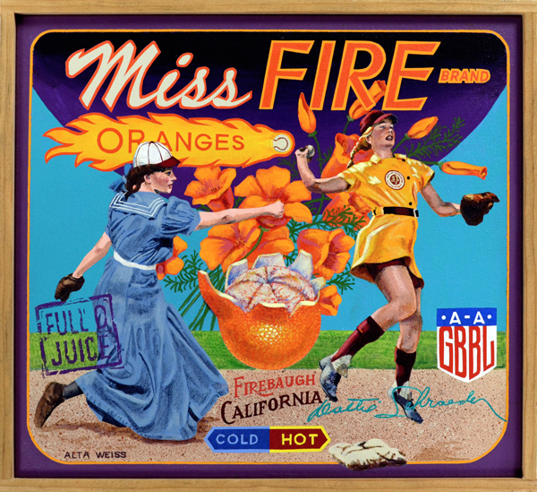 Miss Fire Brand   Alta Weiss (1890‒1964), seen at left sporting an ankle-length bloomer/skirt, pitched in semi-professional men's baseball leagues in the early years of the twentieth century. The curious thronged to see her play in minor league and major league parks, with many male spectators wondering just what her outfit concealed. Not much was left to the imagination when Dottie Schroeder took the field. Schroeder (1928‒1996), primarily a shortstop, holds the distinction of being the only player to appear in all twelve seasons of the All American Girls Professional Baseball League (AAGPBL), 1943 through 1954. League owners wanted the girls to play like men, but look like women, and Dottie fit the bill: she became the most popular and most photographed player in the league. Both Weiss and Schroeder were tremendous players, gams or not, inspiring multiple generations of girls who played the so-called boys' game.