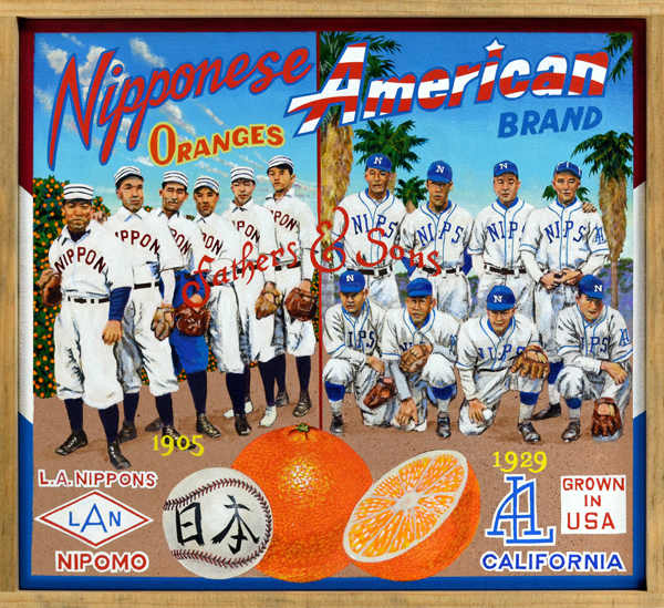 "Nipponese American Brand   Fathers and sons, Issei and Nisei, meet in this fanciful portrait of the Los Angeles Nippons. From the team's humble roots in 1905 through the 1930s, the Nippons were the top Japanese-American amateur team in the Southland. Early Issei games were played under the radar, of little interest to Anglo-Angelenos, but by the time their sons came of age the  Los Angeles Times  was filing regular reports on the team. Referred to at first simply as the Los Angeles Japanese, by the 1920s the Nippons (or Nips) were regularly beating all comers—white, Mexican, other Nisei teams—in amateur competition. The level of play was uniformly high: the 1929 team featured a flashy shortstop, Sammy Takahashi, whose leather earned him a tryout with the Los Angeles Angels of the Pacific Coast League. On December 7, 1941—Pearl Harbor Day—the Nippons were playing a team from Paramount Studios. According to the  Hollywood Reporter , the FBI were on hand, surveilling the game, and were instructed to round up ""the Jap contingent"" afterward—a sad end to a great chapter in Japanese American baseball history."