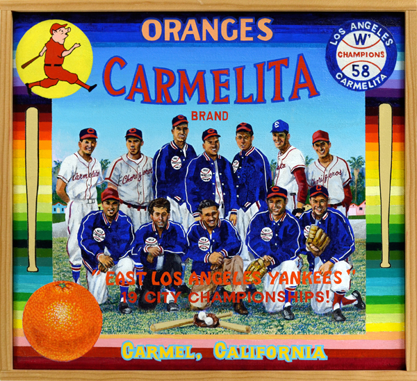 Carmelita Brand   Although there are no official records to support it, no one yet has stepped forward to dispute the claim that the Carmelita Chorizeros won 19 City of Los Angeles Championships during the team's heyday in the 1950s and '60s. Their dynastic rule over the dusty diamonds of the city led some to call them the East Los Angeles Yankees. Carmelita teams didn't discriminate when it came to winning; they beat many barrio nines, of course, in addition to teams made up of African Americans, Japanese Americans and a melting pot of others. The team founder, Mario Lopez, Sr., is pictured at front center. Central to the team's success was manager Shorty Perez (not pictured), the barrio's John McGraw, who piloted the club for more than twenty-five years (1947‒1981). A memorial plaque commemorating Perez's role as local icon may be found at Belvedere Park, site of many Chorizeros victories, in East Los Angeles.  ¡Viva beisbol y chorizo!