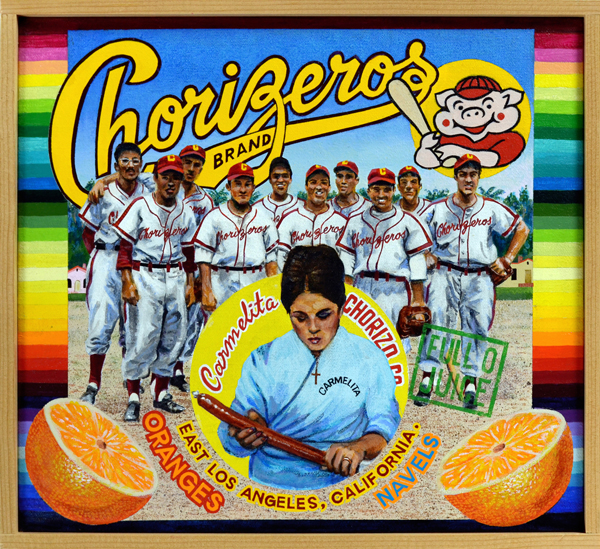 "Chorizeros Brand   Of the many amateur and semi-professional baseball teams composed of Mexican American players from East Los Angeles, none was more successful than the Carmelita Chorizeros, perennial City of Los Angeles champions. The team was sponsored by the Carmelita Provision Company, a manufacturer of pork products such as chorizo—sausage. The Carmelita club was the brainchild of former garage owner and shortstop Mario Lopez, founder of the business, and Francisco ""Pancho"" Sornoso. From the late 1940s to the early 1970s, The Chorizeros (Sausage Makers) systematically ran opponents roughshod in weekly Sunday contests played under the aegis of the LA Department of Parks and Recreation. Enormous crowds gathered in a festive atmosphere to watch the team, while using the occasion to discuss social and political issues faced by Mexican Americans. These games fulfilled a critical function within the community, uniting it during a time when racial discrimination punctuated by violence threatened to destroy it."