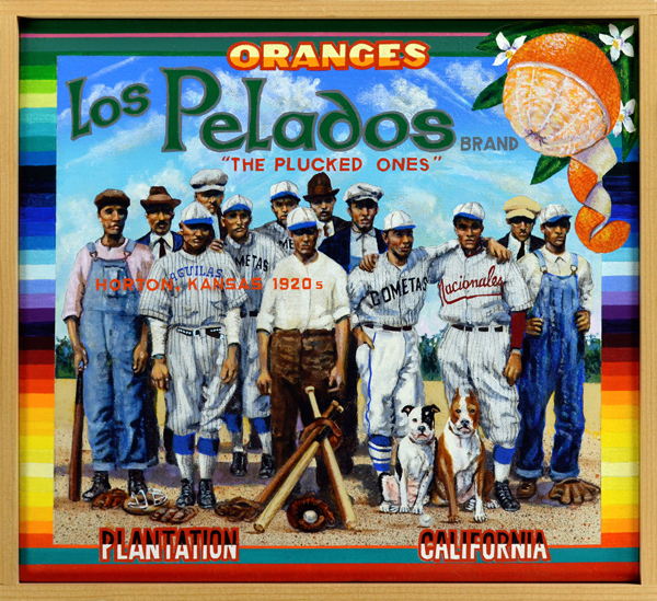 "Los Pelados Brand     Grassroots Baseball  -  The Fresno Cubs were the first all-black amateur baseball club from the hub of California's farm industry. Loosely organized clubs and leagues were a staple of life in the San Joaquin Valley at the time (ca. 1914) the source photo for this painting was taken. Entertainer Gabby Hayes, ubiquitous sidekick from film westerns and popular television host of children's programming in the 1950s, played semiprofessional baseball while still in high school. His love for the game never abated: baseball was part of the core curriculum at the summer camps he hosted around his hometown of Wellsville, NY. He's seen in ""Gabby's Buckeroos Brand"" with a team of Little League whippersnappers from Harlem. In some parts of the country certain industries went out of their way to hire Mexican baseball talent as workers. The Los Pelados (""The Plucked Ones"") was a team from Horton, Kansas sponsored by the Rock Island Railroad Company. The artist has taken liberties with the mid-1920s photograph upon which this painting is based by inscribing player uniforms with some of the most popular team names used during the period."