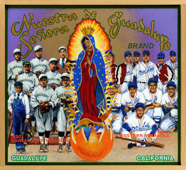 Nuestra Senora de Guadalupe Brand   The Virgin Mary, embodied in the figure of Mexico's patron saint, Nuestra Senora de Guadalupe, has been one of the most common mascots of Mexican American teams throughout the country. Two of those teams are portrayed here, the Nuestra Senoras from Kansas (left) and Nebraska (right). The Catholic Church sponsored many of these teams, hoping that by introducing Mexican American youth to baseball it could keep them out of trouble by providing the kids with structure, discipline and healthy exercise. These teams competed against other ethnic nines from different parishes, often beating them decisively. The popularity of baseball during the 1940s and later may be linked directly to the political and civil rights efforts of the Mexican American community as it demanded equal sports participation in the public and educational sphere. The game was among the most important activities in the struggle for acceptance within mainstream America.