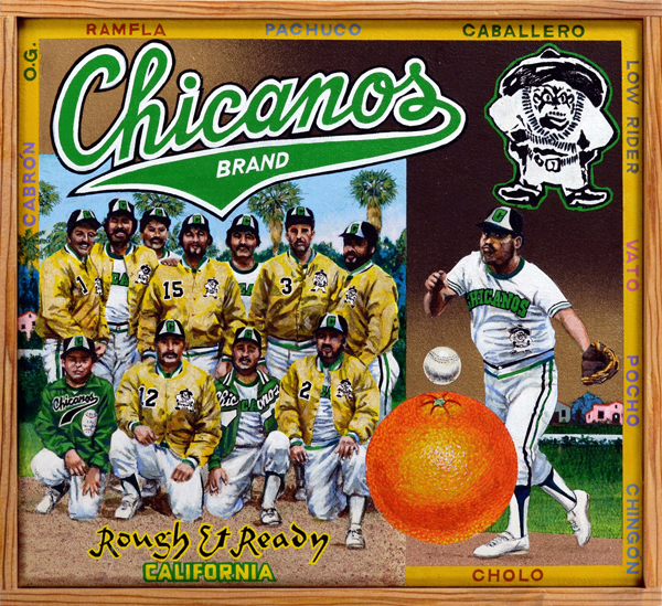 "Chicanos Brand   Men's fast pitch softball leagues abound in every part of the country. The level of competition among top-flight softball teams is fierce, often more intense than in the major leagues. Mexican American softball is no different. Annual tournaments bring together many of the best teams in the country. One of those teams, the Corona Chicanos, is the subject of this painting. At the height of the Chicano movement in the 1960s, Jim ""Chayo"" Rodriguez formed the team as a way to lead youths away from gang involvement. The players selected the Mexican Revolutionary hero Pancho Villa (top right) as their mascot. The team won numerous championships in Southern California and hosted the Chicano Fast Pitch Softball Tournament in Corona, which attracted more than fifty teams from places as far away as Mexico. The team disbanded in the 1980s, but a new squad of Chicanos now compete in their stead."