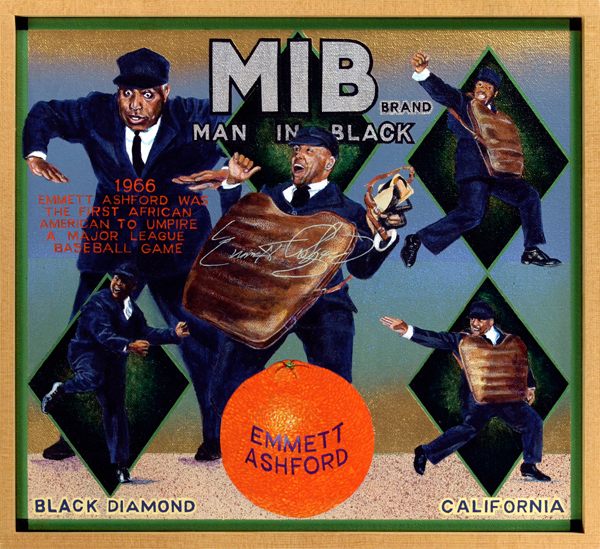 "MIB Brand   Emmet Ashford was, as the painting indicates, the first African-American man in black to umpire in Major League Baseball. Ashford (1914‒1980), a seasoned minor league umpire, didn't reach the majors until his early fifties, but when he debuted in the American League in 1966 he became an overnight sensation. ""Ash"" brought energy and style—two traits not normally associated with arbiters—to the game. The nattily dressed umpire delighted fans with an assortment of theatrical gestures and movements. Even  The Sporting News , a bastion of conservatism, was moved to write, ""For the first time in the history of the grand old American game, baseball fans may buy a ticket to watch an umpire perform."" His umpiring career was too brief, alas. He reached the mandatory retirement age of 55 in late 1969, and finished his career at the end of the following season. In 1971, the magnanimous Ashford was hired as public relations adviser by commissioner Bowie Kuhn. The umpire also appeared frequently on television and in films until his death from a heart attack at age 65. After cremation his ashes were interred in Cooperstown, home to the Hall of Fame."