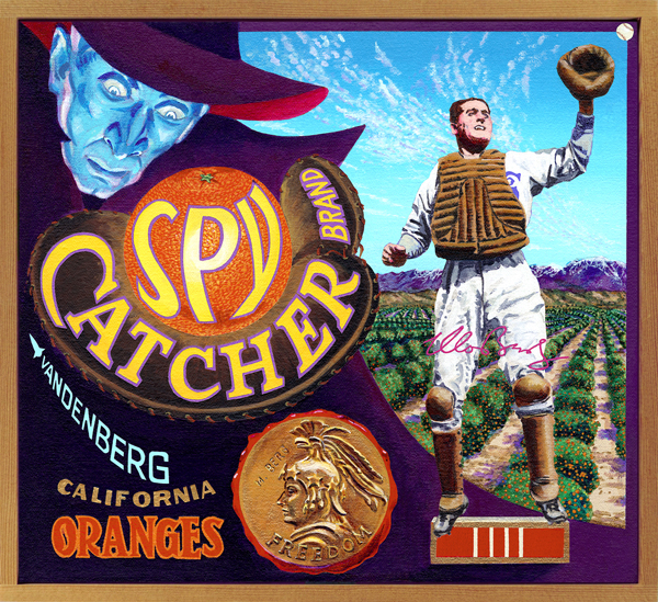 "Spy Catcher Brand (private collection)   It was said of the erudite Moe Berg that ""he can speak twelve languages, but he can't hit in any of them."" A Princeton graduate with a genius for languages, Berg (1902‒1972), who would later pass the New York bar exam, began his career as a shortstop with the Brooklyn Dodgers in 1923. After failing as an infielder because of his inability to hit, Berg moved to catcher, a position that appealed to his natural intelligence, and served as a second-string receiver for a handful of generally dreadful teams. So when he was selected to an All-Star team of American players about to tour Japan in 1934, many scratched their heads in puzzlement. This man clearly had no place in the same locker room, let alone on the same field, with the likes of Lou Gehrig, Babe Ruth, Al Simmons and other greats of the day. What no one knew, however, was that Berg had been approached by the U.S. government to spy on Japan. Equipped with a motion picture camera Berg surreptitiously filmed military and industrial sites in Tokyo and other cities that were later used to identify bombing targets during WWII. Moe became a member of the OSS, the CIA's predecessor, and was assigned to covert operations. During the war, he was instructed to assassinate Nazi nuclear physicist Werner Heisenberg, who was leading Germany's research into atomic weapons. When Berg realized that the Germans weren't remotely close to manufacturing the bomb, he let Heisenberg live. Later in life, Berg was named to receive the Presidential Medal of Freedom, but when he learned that his espionage exploits abroad were still classified, he passed on the honor. That medal is now on display at the Hall of Fame. Berg remained a cipher to the last, frequently dismissing former acquaintances with a finger to his lips indicating ""Shhhh, I can't talk about what I'm doing."" Casey Stengel, who met plenty of odd birds during his life, called Berg ""the strangest fella I ever met."" Strange but true. Maybe."
