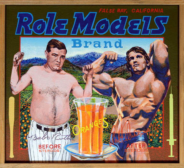 "Role Models Brand (private collection)   Since the Greeks first defined the male physical ideal for the West, different cultures have refined or updated it for the times in which they lived. In America during the 1920s, the enduring symbol of male strength resided in physiques like Babe Ruth's. The happy-go-lucky man-child who wowed spectators with displays of hitherto unseen slugging power took his body for granted. Yes, he sweated and worked out mostly to keep his weight down, but other than that he was, well, just the Babe, a fellow who enjoyed everything to excess. His daily training regimen included plenty of beer, liquor, food and women. On the other hand, squat Austrian Arnold Schwarzenegger used his body as an end in itself. Eschewing the ""natural"" supplements used by Ruth, the Arnold pumped himself with steroids and human growth hormone before pumping iron. This resulted in what many still find to be a grotesque distortion of the male form."