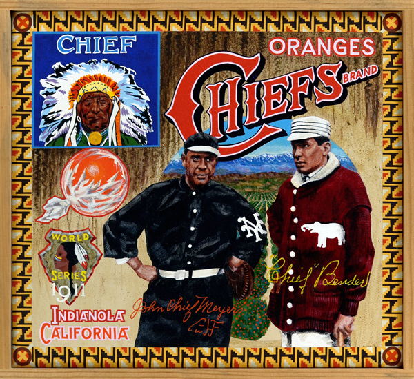 "Chiefs Brand (private collection)   With the exception of Jim Thorpe all Native American players at the turn of the 20th century were called ""Chief."" Two of these men are pictured here: John ""Chief"" Meyers (L), outstanding catcher for the New York Giants (1909‒1917) and Hall of Famer Albert ""Chief"" Bender (R), mound ace for the Philadelphia Athletics (1903‒1914). The two met as opponents in the 1911 and 1913 World Series, each won by Bender's Athletics. At the same time these players were active, franchises in Cleveland and Boston changed their team names to Indians and Braves, respectively. In one of history's great ironies, the same people who were hunted to near-extermination, dispossessed of their lands and stripped of their freedom, were then callously exploited as symbols of the indomitable American spirit."