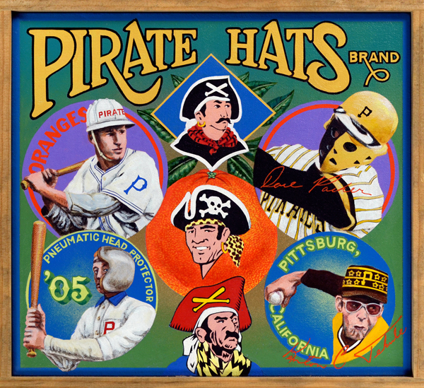 "Pirate Hats Brand   No pirate worth his swashbuckling salt would be caught dead without a hat like those seen in the various logos of the Pittsburgh Pirates. The Bucs have never been shy about donning creative headwear. During the 1970s, the Pirates wore a throwback pillbox cap stitched with stars that represented stellar on-field feats. Submarining relief ace Kent Tekulve models one at lower right. The other styles on display were introduced to prevent beanballs or errant pitches from smashing into a player's head. The earliest example here is the pneumatic head protector (lower left), an item marketed by the A.J. Reach Company in 1905. Above that a Pittsburgh player shows off an early helmet design, derisively called ""miner's caps"" by players. At top right Dave Parker, not a deranged killer from a slasher film, wears a contemporary ear-flap design with a special face guard to protect the slugger's tender cheekbones from re-injury. During Branch Rickey's tenure with the Pirates in the 1950s, the team became the first to make batting helmets mandatory for all players. Major League Baseball would shortly follow suit."