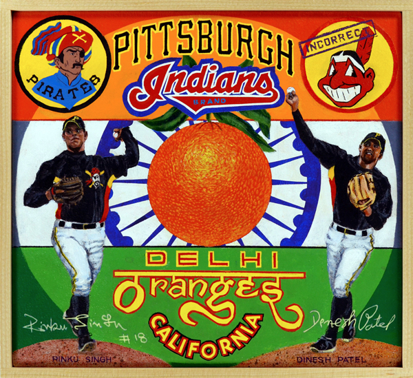 "Pittsburgh Indians Brand   As the ""incorrect"" Cleveland Indians logo at top right indicates, these two pitchers are not Native-American Indians but natives of India. The country where cricket is king. Southpaw Rinku Singh and his right-handed complement Dinesh Patel beat out more than 37,000 other contestants on the Indian reality TV show,  Million Dollar Arm . Amazingly, neither had ever thrown a baseball before. In addition to cash prizes, the two were flown to the Unites States where they received instruction from pitching coach Tom House, a former relief pitcher known for his unorthodox teaching methods. After trying out before scouts from several teams, the two were signed to professional contracts by the Pittsburgh Pirates. They are the first players from India ever to appear in pro ball. Patel proved ineffective in the low minors and returned to India in 2010. Singh pitched well, however, and was promoted to a higher classification. Injuries caused him to miss the entire seasons of 2013 through 2015, but they Pirates believed in his future and re-signed him anyway. The two are the subjects of the 2014 film,  Million Dollar Arm ."