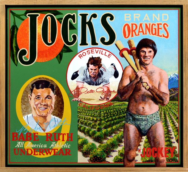 Jocks Brand     Underwear -   As restrictions on content in print and television advertisements relaxed during the 1970s, it became common to see baseball players supplementing their income by modeling men's underwear. The most famous pitchman of tighty-whities was handsome Jim Palmer, high-strung ace of the Baltimore Orioles, who appeared in a series of popular ads for Jockey. Thanks to his long, lean physique Palmer quickly became the darling of female and gay male fans, not quite the baseball equivalent of ubiquitous pin-up lovely Farah Fawcett but pretty darn close. Shown modeling the matching print underwear set is Philadelphia Phillies southpaw Steve Carlton, who looks rather more like an off-set porn star than an athlete. The cheesesteak beefcake was among the most physically fit players of his era, having designed a grueling workout regimen as eccentric as he. The sight of Babe Ruth in underwear would have unsettled many; thankfully he played in a more modest era, so we've been spared that image. Not so for Pete Rose, whose Prince Valiant haircut couldn't hide his Everyman squatness and hairy forearms. All the models here are enshrined in the Hall of Fame except Rose. This begs the question: Was he banned for life from baseball for breaking the rules against gambling or because he broke the rules of good taste?