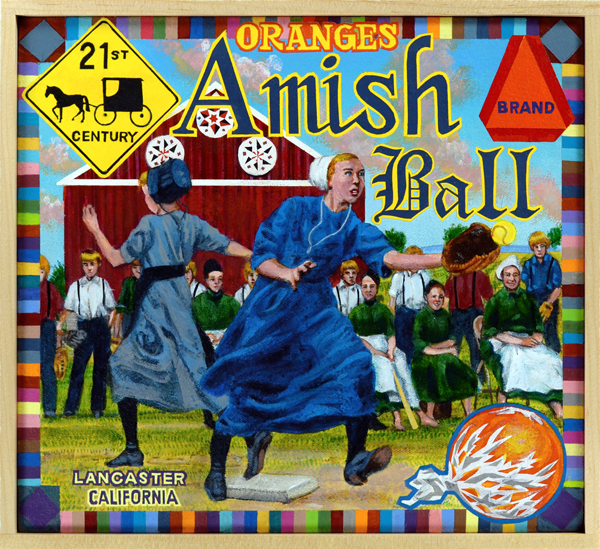 Amish Ball Brand   Baseball is an anachronism—a nineteenth-century game that has struggled, at times, to retain relevance in the digital era. The Amish, specifically the Pennsylvania Dutch in and around Lancaster County, are also an anachronism. Rigidly adhering to religious values that eschew the trappings of the modern world (the horse and buggy is still the preferred means of conveyance), the Amish nonetheless continue to thrive. The viewer may be excused, then, if he or she believes that the artist is engaged in a simple flight of fancy here, merely conflating an outmoded pastime with a people fiercely attached to their traditions. The truth is: the Amish do play baseball. As a result of the manpower shortage during and after World War II, Amish ballplayers were signed, under assumed names, to fill out the ranks of semi-pro teams. The game remains popular today in Amish communities, particularly with kids.
