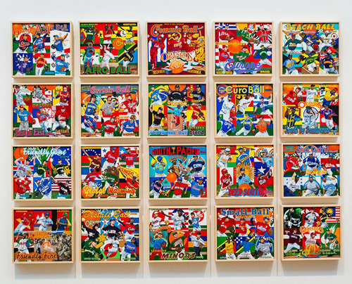 """""""Global Baseball installation view – approximately 45"""" x 60""""  (installation is site-specific) Photo: Bebe Jacobs, Skirball Cultural Center"""