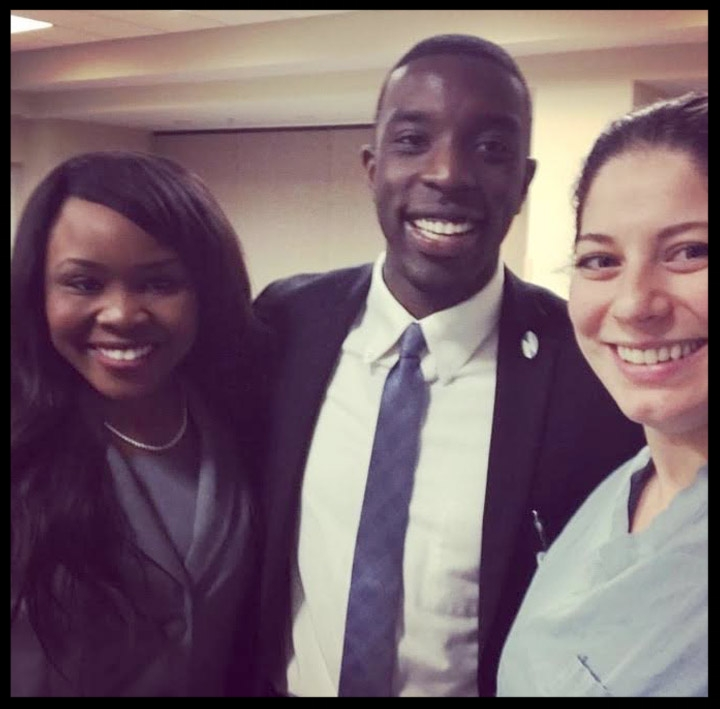 Nth alum, Dr. Christine DiPompeo (Orthopaedic Resident at Southern Illinois University) greets Nth Scholars, Elizabeth Ekpo and Wendell Cole.