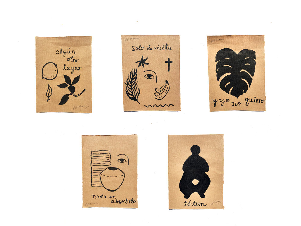 "small works - Series of 5 works. Brushed ink on brown linen paper. 5 x 6.5"" ea."