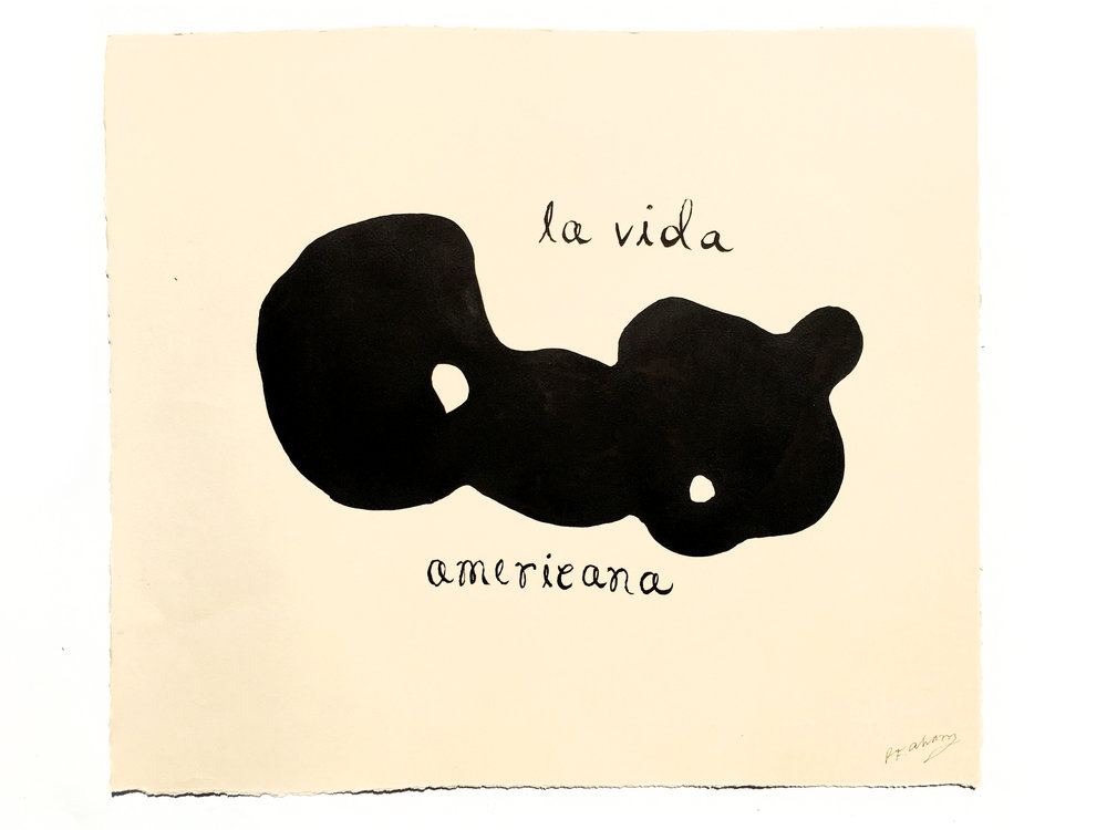"""LA VIDA AMERICANA"" - Brushed ink on cream lithography paper. 22.5 x 19.25"""