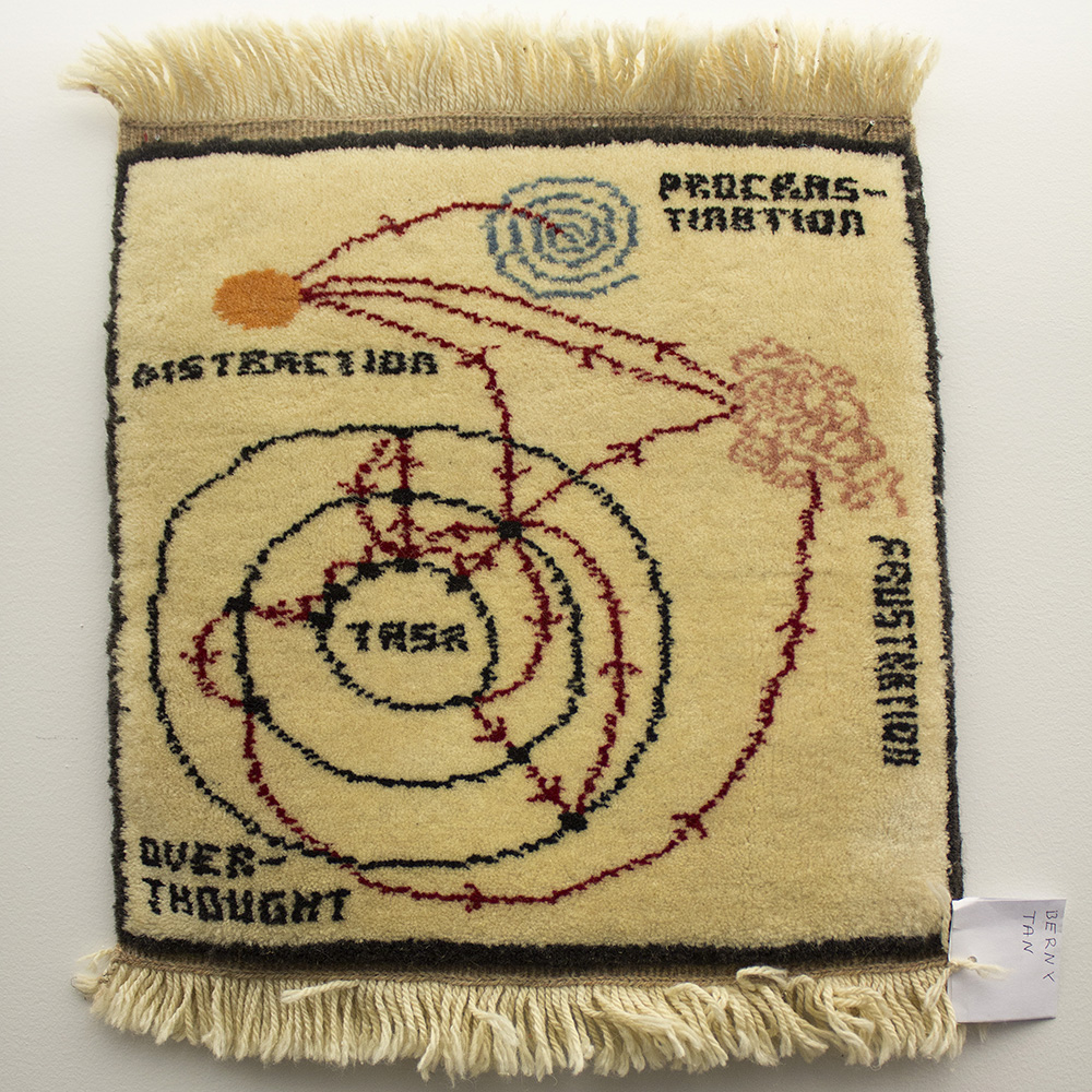 DIAGRAMMATIC RUG - Berny Tan x Priene Hali ProjectA diagram about the difficulties of completing any given task, woven into a small carpet by women rug weavers in rural Turkey as part of the Priene Hali Project