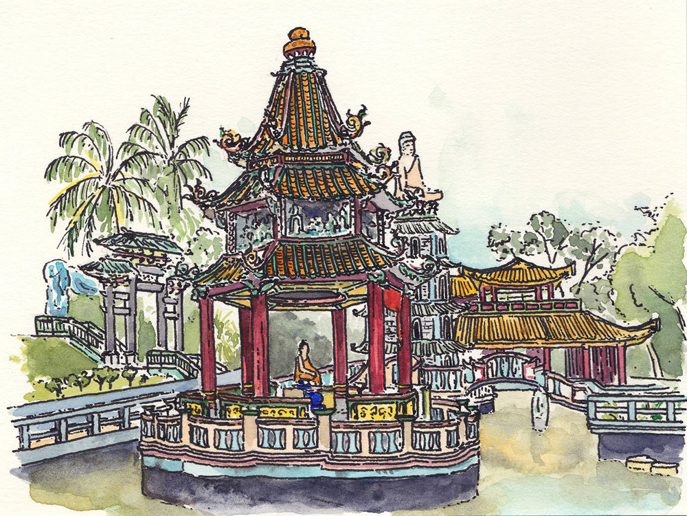 Haw Par Villa, Singapore (2017) Ink, watercolour