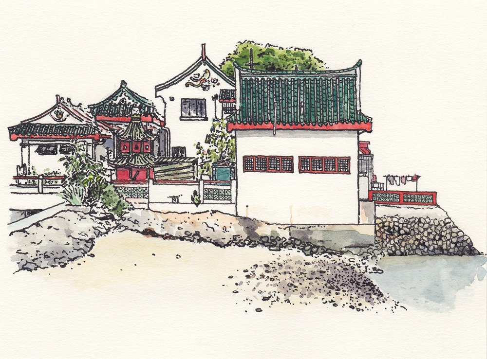 Kusu Island, Singapore (2017) Ink, watercolour