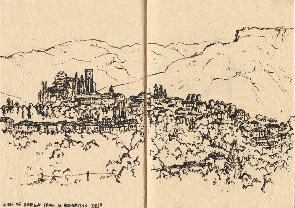 View of Barga from Al Benefizio Farmhouse, Tuscany, Italy (2017) Ink