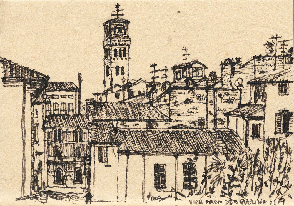 View from B&B Evelina, Lucca, Italy (2017) Ink