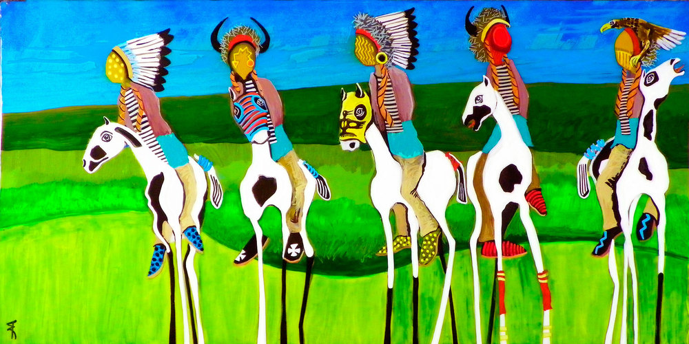 "Denton FastWhirwind 'Riders under thunder whispers' 12""X24"" Acrylic on Canvas 2014"