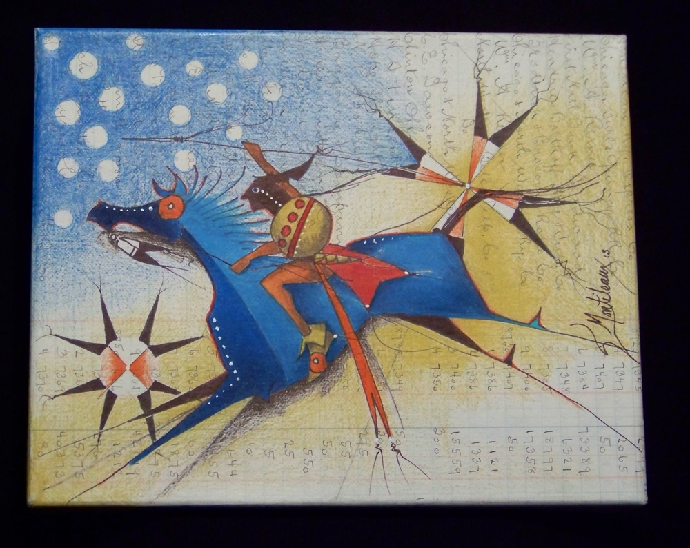 Donald F. Montileaux 'Black Star' Prisma color pencil & india ink on antique ledger paper 2013