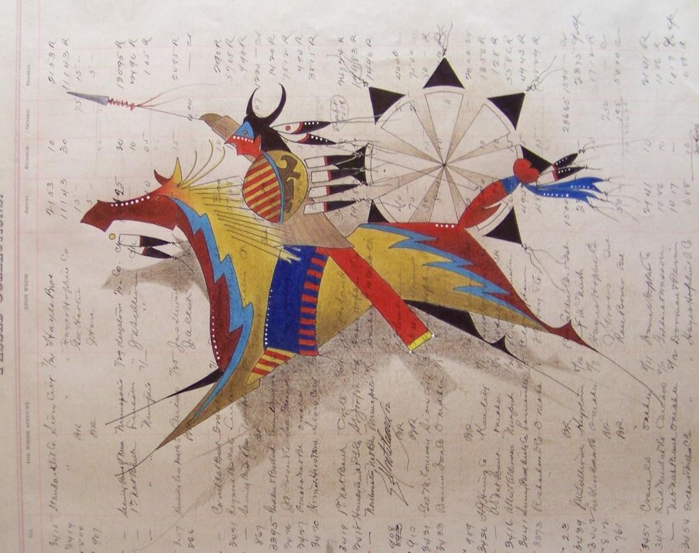 Donald F. Montileaux 'Buffalo Thunder' Prisma color pencil & india ink on antique ledger paper 2012