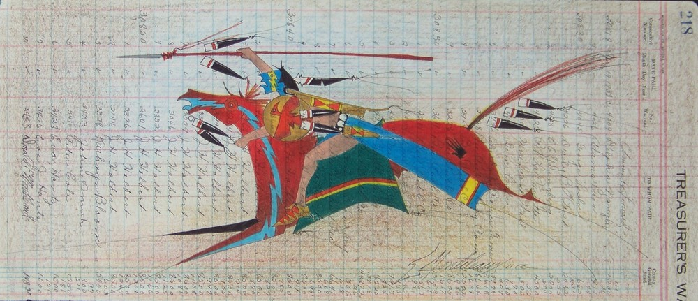 Donald F. Montileaux 'The One Who Goes Ahead Running' Prisma color pencil & india ink on antique ledger paper 2011