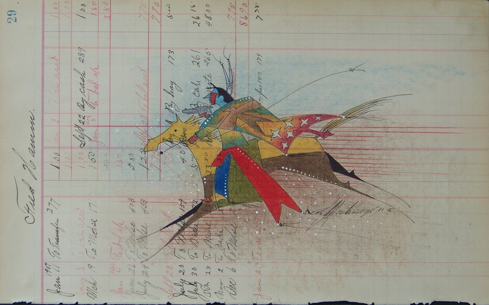 Donald F. Montileaux 'Whirling Horse' Prisma color pencil & india ink on antique ledger paper 2011