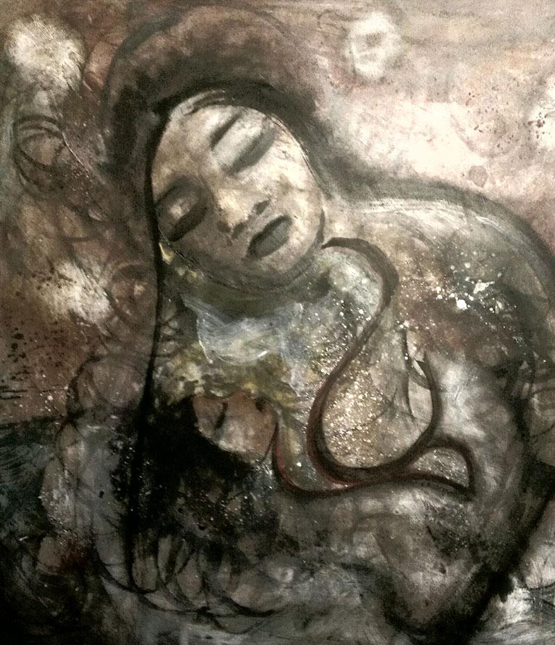Jennifer White 'Indian Moses' Acrylic on Masonite 2014