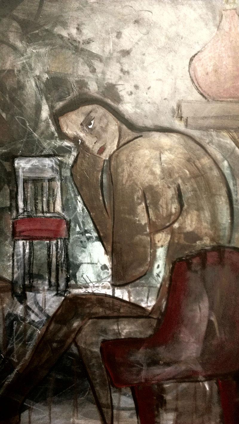 Jennifer White 'Waiting' Acrylic on Masonite 2014