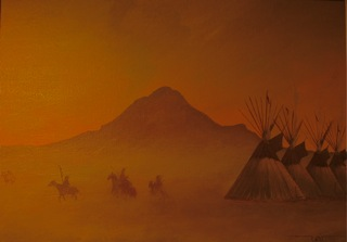 Gerald Yellowhawk 'Warriors in the Mist'